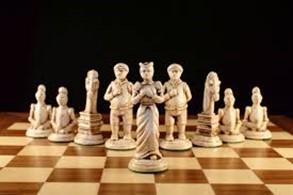 chess pieces on a board in a V shape showing leadership Knowledge Innovation Center