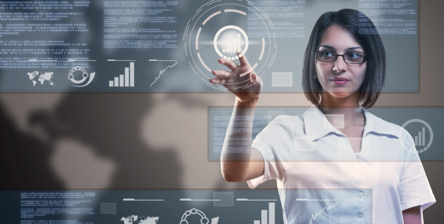 woman pointing to image with graph and worldly data Knowledge Innovation Center